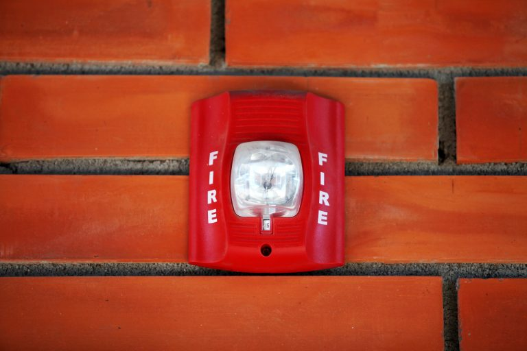 Fire alarm system on the wall